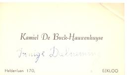 Visitekaartje - Carte Visite - Kamiel De Buck - Hauwenhuyse  - Eeklo - Cartoncini Da Visita