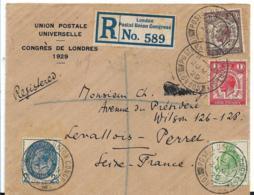 GBG012 / UPU Kongress London 1929 Auf Offiz. Kuvert. Sonder-R-Zettel Und Entwertung - Covers & Documents