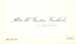Visitekaartje - Carte Visite - Mme Gaston Goethals - Eeklo - Cartes De Visite