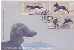 2016. Kyrgyzstan, Salbuurum-Traditional Kyrgyz Hunting, Taigans, Dogs, FDC, Mint/** - Kirghizistan