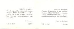 Visitekaartje - Carte Visite - Verzekeringen Alfons Sevens - Gent - Cartoncini Da Visita