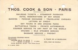 Visitekaartje - Carte Visite - Thos Cook & Sons - Paris - Cartes De Visite