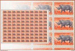 Congo 0351**  20c - Rhino -  Feuille / Sheet De 100 -MNH- - Feuilles Complètes