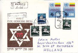 Lituanie - Israël - Lettre Recom De 1992 - Oblit Vilnius - Cachet Spécial Genocide De Diena - Lituanie