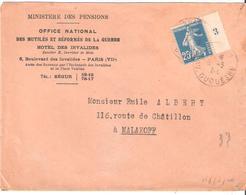 25c.semeuse Camée Bleu Avec Millésime 3 Sur Lettre Oblitéré PARIS - Marcophilie (Lettres)