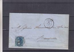 Belgique - Lettre De 1863 - Oblit Liège - Exp Vers Bruxelles - - 1863-1864 Medallions (13/16)