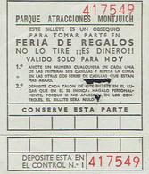 Ancien Ticket D'entrée Parc D'attractions - Parque D'Atracciones Montjuich Feria De Regalos (années 1970) - Tickets D'entrée