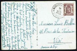 """COB N°  714 - CP Ange - Oblitération Dépôt-relais : """" * MUNSTERBILZEN * - 18/IV/1950 """" - Marcophilie"""