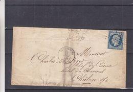France - Lettre De 1855 - Oblit Strassbourg - Exp Vers Châlon Sur Saone - Cachet Strassbourg Bale - Paris à Lyon - 1853-1860 Napoléon III