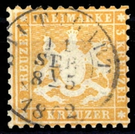 1862, Altdeutschland Württemberg, 22 A, Gest. - Wuerttemberg
