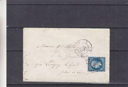 France - Lettre De 1857 - Oblit Paris - Exp Vers Pussigny Le Grand  ? - Cachet Paris Bordeaux - 1853-1860 Napoleon III