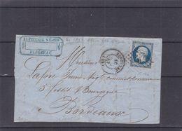 France - Devant De Lettre De 1857 - Oblit Bergerac - Exp Vers Bordeaux - Timbre 4 Marges - 1853-1860 Napoleon III