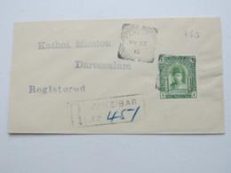 1912 , ZANSIBAR , 1 Rupiee On Registered Cover To German East Africa , Incomming Postmark On Backside - Zanzibar (...-1963)