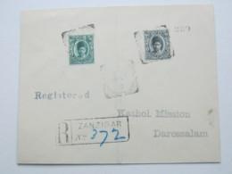 1912 , ZANSIBAR ,  Registered Cover To German East Africa , Incomming Postmark On Backside - Zanzibar (...-1963)