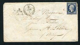 Lettre De Sainte Foy La Grande Pour Fabas ( Ariège 1856 ) Avec Un N° 14Ab Bleu Noir - 1853-1860 Napoléon III