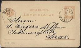 UNGHERIA - CARTOLINA INTERO POSTALE (MICHEL P14) - VIAGGIATA 11.12.1880 DA VARAZDIN(CROAZIA) A GRAZ - Interi Postali