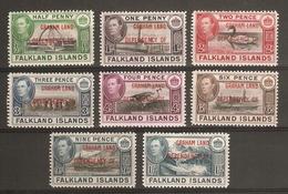 FALKLAND ISLANDS DEPENDENCIES - GRAHAM ISLAND 1944 SET SG A1/A8 LIGHTLY MOUNTED MINT Cat £24 - Falkland Islands