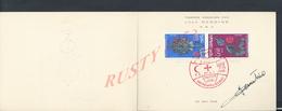 MAROC RABAT AUTOGRAPHE DE JEAN DANDINE TIMBRE DESSINÉS PAR LUI MÊME 1966 CROIX ROUGE N° 41 SUR 250 EXEMPLAIRES : - Morocco (1956-...)