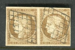Superbe Paire De N° 1 Bistre Brun Foncé - Signé Jamet, Calves Et Jacquart - 1849-1850 Ceres