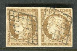 Superbe Paire De N° 1 Bistre Brun Foncé - Signé Jamet, Calves Et Jacquart - 1849-1850 Cérès