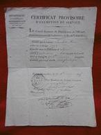 MILITARIA CERTIFICAT PROVISOIRE D EXEMPTION DE SERVICE A COMBET JEAN D ALIGNAN DU VENT 1815 CACHET SIGNATURES - Documents