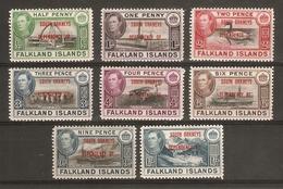 FALKLAND ISLANDS DEPENDENCIES - SOUTH ORKNEYS 1944 SET SG C1/C8 LIGHTLY MOUNTED MINT Cat £24 - Falkland Islands