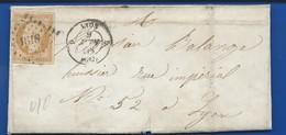Lettre Avec Timbre  Napoléon III Empire Franc  N°13 OblitérésP.C 1813 9 Juin 1858 - 1853-1860 Napoléon III
