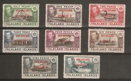 FALKLAND ISLANDS DEPENDENCIES - SOUTH SHETLANDS 1944 SET SG D1/D8 LIGHTLY MOUNTED MINT Cat £24 - Falkland Islands