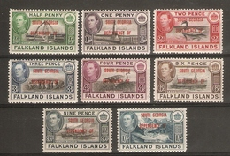 FALKLAND ISLANDS DEPENDENCIES - SOUTH GEORGIA 1944 SET SG B1/B8 MOUNTED MINT Cat £24 - Falkland Islands
