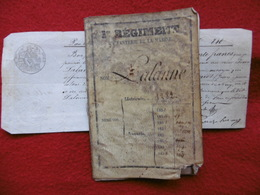LIVRET HOMME DE TROUPE LALANNE JEAN 2è REGIMENT D INFANTERIE 1853 DE MARINE + BON POUR 840 FRANCS A VOIR - Documents