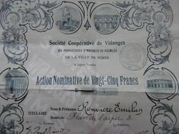 NIMES SOCIETE COOPERATIVE DE VIDANGES ACTION 25 FRANCS - Actions & Titres