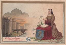 Ancienne Petite Lithographie Chateau De Nantes - Anne De Bretagne - Publicité Grands Magasins Du Dé D'Argent - Vieux Papiers