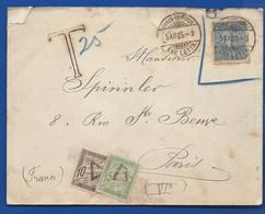 Enveloppe Avec Timbre N°132  Taxé à 10+15      Oblitération:   CHAUX DE FONDS 5 XII 1905 - Marcofilie (Brieven)