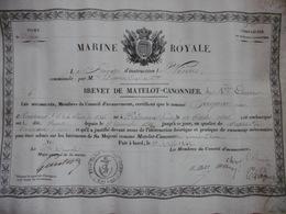 MARINE ROYALE BREVET DE MATELOT CANONNIER 2è COMPAGNIE A SEIGNAC PIERRE FREGATE D INSTRUCTION LA VENUS 1842 LOQUE CAPITA - Documents
