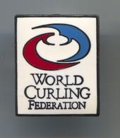 World Curling Federation - Vintage Pin, Badge, Abzeichen, Enamel - Winter Sports