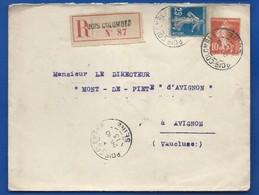 Enveloppe Entier Postal Semeuse à 10 Cts + TimbreN° 140   Oblitération:BOIS-COLOMBES 26-10-1913  En Recommandé - Marcofilie (Brieven)