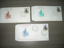 """BELG.1971 1577 FDC Brussel/Bruxelles ,La Louviere + Namur """" Dag Van De Postzegel/ Journee Du Timbre"""" - FDC"""