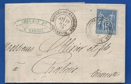 Lettre Avec Type Sage à 15 Cts Oblitération: Baignes Ste Radegonde    19 Mai 1879 - Marcofilie (Brieven)