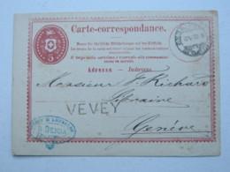 1872 , VEVEY , Klarer Stempel Auf Ganzsache - 1862-1881 Helvetia Assise (dentelés)