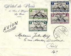 1938- Enveloppe  Hôtel De Paris Le Caire Par Avion Affr. à 25 Mills Pour Paris - Lettres & Documents