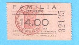 Ticket D'entrée Meurice- Beauraing- Cinéma Familia-+/-1960 - Tickets D'entrée
