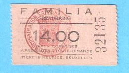 Ticket D'entrée Meurice- Beauraing- Cinéma Familia-+/-1960 - Eintrittskarten