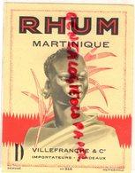 33- BORDEAUX- RARE ETIQUETTE RHUM MARTINIQUE VILLEFRANCHE & CO- WETTERWALD - Rhum