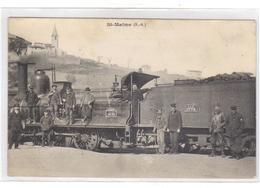 Cpa Du 04- SAINT MAINE - Le Train En Gros Plan En Gare Avec Le Personnels - Francia