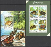WW415 2013 S. TOME E PRINCIPE FAUNA MARINE LIFE TURTLES TARTARUGAS KB+BL MNH - Turtles