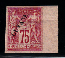 GUYANE - N° 14* - SAGE - 75c Carmin, Bord De Feuille - Pli - Signé Brun - Très Frais. - Guyane Française (1886-1949)