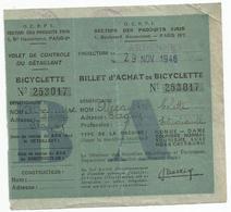Billet  D 'achat De Bicyclette  29 10 1946  Blagny Carignan 08 - Documents Historiques
