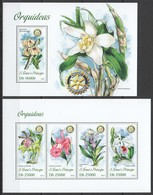 WW467 2013 S. TOME E PRINCIPE NATURE FLOWERS ORCHIDS ORQUIDEAS KB+BL MNH - Orchideen