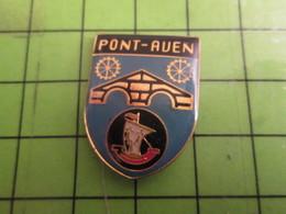 412C Pins Pin's / Rare & De Belle Qualité  THEME : VILLES / BLASON ECUSSON ARMOIRIES PONT-AVEN BRETAGNE ROUE NEF - Villes