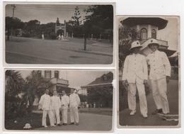 Photo Originale 1930 Marine Marins De L'aviso Antares à Lourenço Marques Maputo Mozambique Lot De 3 - Boten
